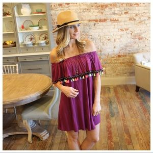 Magenta tassel off shoulder dress